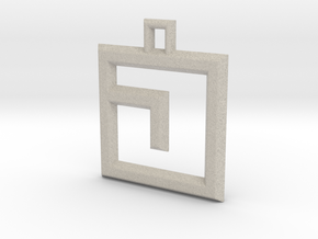 ABC Pendant - J Type - Solid - 24x24x3 mm in Natural Sandstone