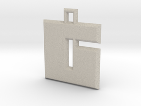 ABC Pendant - 6 Type - Solid - 24x24x3 mm in Natural Sandstone