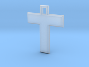 ABC Pendant - T Type - Solid - 24x24x3 mm in Smooth Fine Detail Plastic