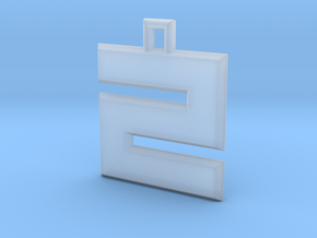 ABC Pendant - Z/2 Type - Solid - 24x24x3 mm in Smooth Fine Detail Plastic