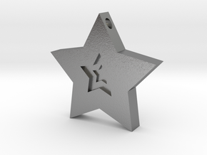 Star Charm (Precious metals)   in Natural Silver