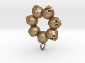 Seven Skull pendant in Polished Bronzed Silver Steel