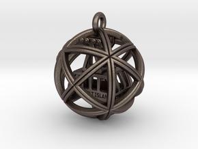 Geocube with R.I.Tram inside in Polished Bronzed Silver Steel