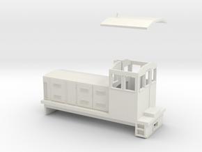 """HOn30 Endcab Locomotive (""""Eva"""") in White Natural Versatile Plastic"""