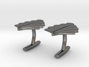 Art Deco Palm Cufflinks in Polished Nickel Steel