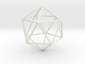 Icosahedron 100mm in White Strong & Flexible