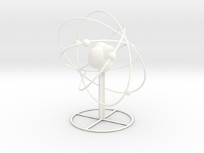 Atom planetary model with base in White Strong & Flexible Polished