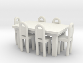 Table And Chairs OO Scale in White Natural Versatile Plastic