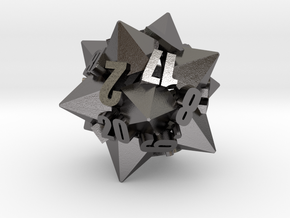 Dodecapentacone d20 in Polished Nickel Steel