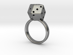 Rhombic Die Ring in Polished Silver