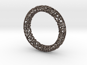 Cosma Silver Bangle in Polished Bronzed Silver Steel