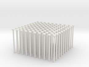 Building Block Pipes (x100) in White Natural Versatile Plastic