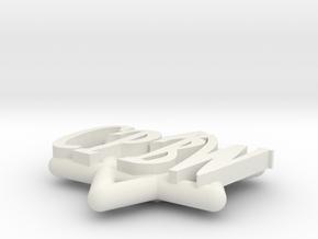 Star of David Pin for Chaim in White Natural Versatile Plastic