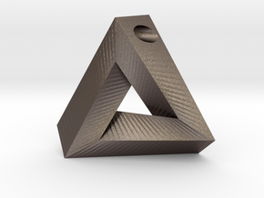 Penrose Triangle - Pendant (3cm | 3mm hole) in Polished Bronzed Silver Steel