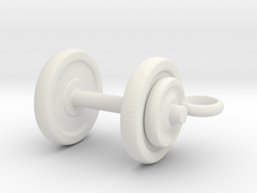 Tiny Dumbbell Pendant in White Natural Versatile Plastic