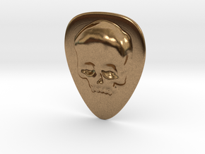 Skull Guitar Pick in Natural Brass