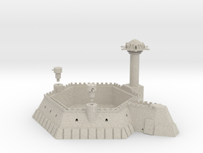 6 Sided Martian Villa With Towers in Natural Sandstone