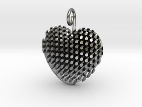 Heart Diagonal Rods V5 in Natural Silver