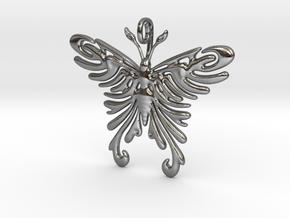 Pendant Tribal Pattern Butterfly in Polished Silver