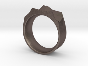 Triangulated Ring - 17mm in Polished Bronzed Silver Steel