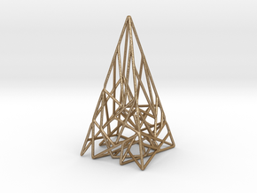 Triangulated Pyramid Pendant in Matte Gold Steel