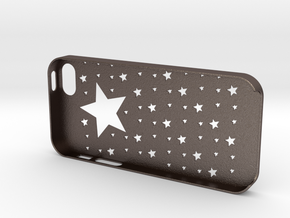 Iphone5,5S Star case,cover in Polished Bronzed Silver Steel
