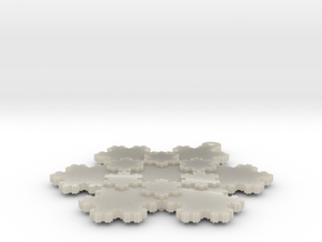 Koch Snowflake - 2 in White Acrylic