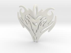 Pendant Heart Tribal Pattern in White Natural Versatile Plastic