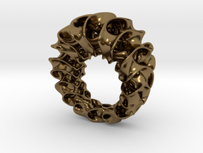 Gyroid Ring in Polished Bronze
