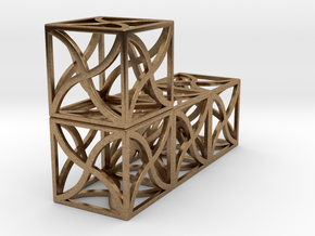 Twirl cubed puzzle single part #4 in Natural Brass