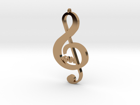 Treble Clef Music Symbol in Polished Brass