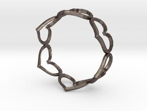 Hearts Bracelet 4inch in Polished Bronzed Silver Steel
