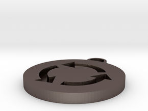 Roundabout Symbol in Polished Bronzed Silver Steel