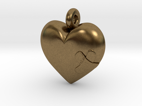 Wounded Heart Pendant in Raw Bronze