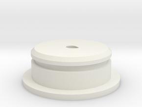 "D-Cell Battery Base 1.135"" in White Natural Versatile Plastic"