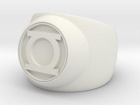 Green Lantern Ring- Size 8 in White Natural Versatile Plastic