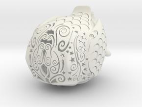 Stelliform Owl Small Size in White Natural Versatile Plastic