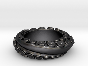 Octo Ring S10.5 in Polished and Bronzed Black Steel