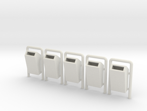 Mülleimer für Parks, 5x, Spur 0 / Trash bins in White Natural Versatile Plastic