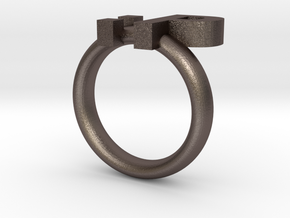 Tongue Emoticon Ring Version 2 :P in Polished Bronzed Silver Steel