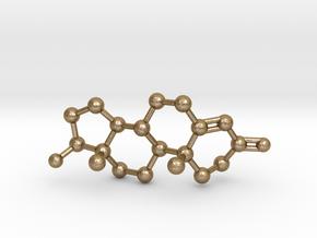 Testosterone Molecule Necklace BIG in Polished Gold Steel