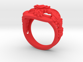 Botanica Mechanicum Ring SIZE 6 in Red Processed Versatile Plastic