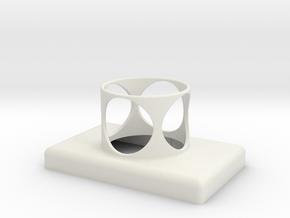 Stop Button Shroud LaspilC No Holes in White Natural Versatile Plastic