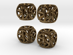Gear Dice - D6 4 Pack in Polished Bronze