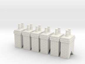 Chimney Stack - Small Type 1 X 6 - OO Scale in White Natural Versatile Plastic