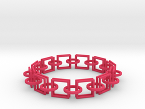 Circles and Squares Bracelets in Pink Processed Versatile Plastic