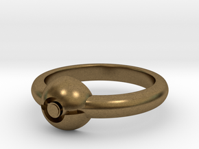 Pokeball Ring-Thin Band (Edit size in description) in Natural Bronze