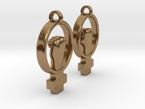 Womens Rights Symbol Earrings in Natural Brass