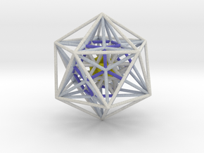 Icosahedron Dodecahedron nest White 100mm in Full Color Sandstone