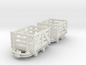 O9 skip with slat sided box body  in White Strong & Flexible